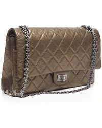 Chanel Pre-Owned Aged Calfskin Jumbo 2.55 Double Flap Bag gold - Lyst