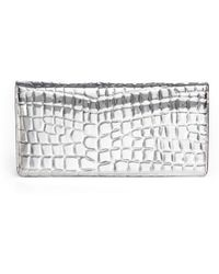Stella McCartney Metallic Crocembossed Fauxleather Clutch - Lyst