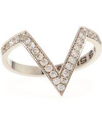 Janis Savitt - Diamond V Stacking Ring 18k White Gold - Lyst