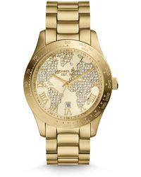 Michael Kors Midsize Golden Stainless Steel Layton Threehand Glitz Watch - Lyst