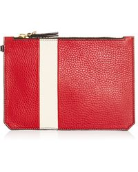 Etienne Aigner | M'o Exclusive Eva Lipstick Pouch In Red And Ivory With Grey Pom Pom | Lyst