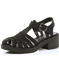 River Island Black Strappy Block Heel Sandals - Lyst
