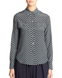 Marc Jacobs Silk Printed Blouse - Lyst