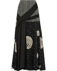 ADEAM - - Draped Cloqué-paneled Printed Silk Maxi Skirt - Black - Lyst