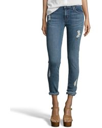 James Jeans Light Blue Stretch Distressed Denim 'Crush' Jeans - Lyst