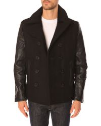 Schott Nyc Black Leather And Wool Pea Coat - Lyst