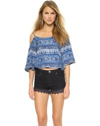 House of Harlow 1960 - Pasadena Off Shoulder Top - Indo Print - Lyst