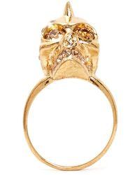 Alexander McQueen Crystal Punk Skull Ring - Lyst
