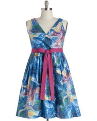 ModCloth In The Key Of Chic Dress in Watercolors - Lyst