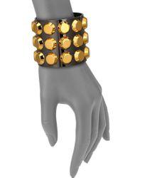 Reed Krakoff T-Bar Two-Tone Studded Cuff Bracelet gold - Lyst