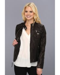 Michael by Michael Kors Zip Front Leather Jacket - Lyst