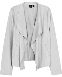 Eileen Fisher - Light Grey Suede Jacket - Lyst