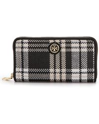 Tory Burch Robinson Plaid Zip Continental Wallet - Blackwhitebeige - Lyst