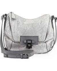 Kooba Gabby Textured Leather Zip Messenger Bag Grigio Snake - Lyst