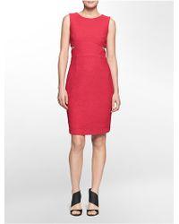 Calvin Klein White Label Textured Side Cutout Sleeveless Dress - Lyst
