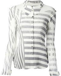 Issey Miyake Cauliflower Contrast Stripe Shirt - Lyst