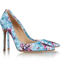 Mary Katrantzou - Gianvito Rossi Lisa Ponker Printed Satin Pumps - Lyst