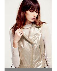 Free People Womens Rose Gold Metallic Vegan Vest - Lyst