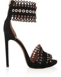 Alaïa Embellished Suede Sandals - Lyst