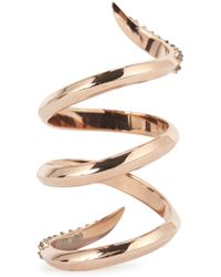 Katie Rowland - Twisted 18Kt Rose Gold Ring - Lyst