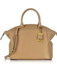 Michael Kors | Riley Dark Khaki Leather Large Satchel Bag | Lyst