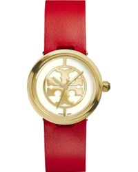 Tory Burch The Reva Gold-plated Stainless Steel and Leather Watch - Lyst
