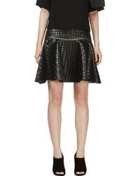 Jay Ahr Black Embossed Leather Circle Skirt - Lyst
