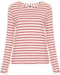 Topshop Womens Long Sleeve Stripe Top Red - Lyst