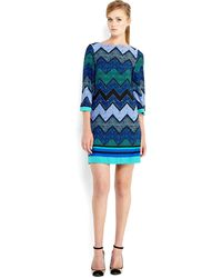 Eliza J Blue Printed Sheath Dress - Lyst