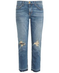 Current/Elliott Straight Cropped Low-Rise Jeans - Lyst