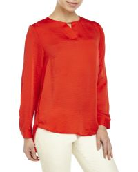 Symple NYC - Red Woven Hi-Low Blouse - Lyst
