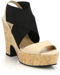 Diane von Furstenberg | Deetra Banded Leather & Cork Platform Sandals | Lyst