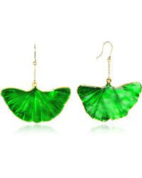 Aurelie Bidermann | Gold And Emerald Green Ginkgo Earrings | Lyst