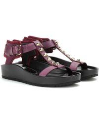 Balenciaga Classic Strap T Bar Leather Sandals - Lyst
