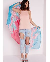 Missguided - Floral Print Scarf Pink - Lyst