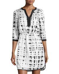 Ivy & Blu Brushprint Splitneck Charmeuse Dress - Lyst