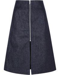 Victoria Beckham Denim Zip Front Skirt - Lyst