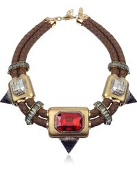 Roberto Cavalli Africa Stone and Woven Leather Chocker - Lyst