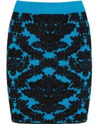 House Of Holland Flocked Stretchknit Mini Skirt - Lyst