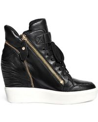 Ash 'Alfa' Embossed Ribcage Leather Wedge Sneakers black - Lyst