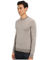 Michael Kors Collection Tipped Merino Crew Sweater - Lyst