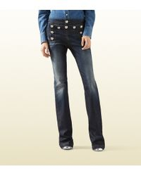 Gucci Stretch Denim Flared Sailor Pant - Lyst