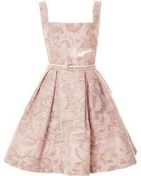 Elie Saab Brocade and Organza Fil Coupe Short Dress - Lyst