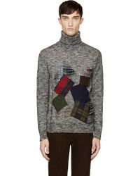 Junya Watanabe Black Distressed and Patched Turtleneck Sweater - Lyst