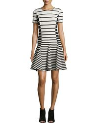 Halston Heritage Striped Fit-And-Flare Dress - Lyst
