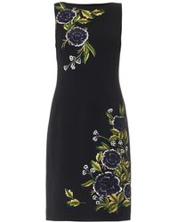 Oscar de la Renta Chrysanthemum Wool-crepe Dress - Lyst