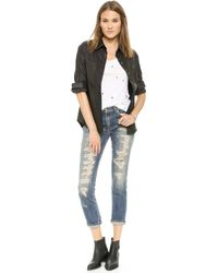 Rta Leather Industrial Shirt  Black - Lyst