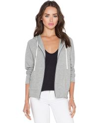 James Perse Classic Zip Up Hoodie gray - Lyst