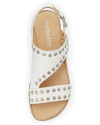 Nanette Lepore Double Time Studded Flat Leather Sandal White - Lyst