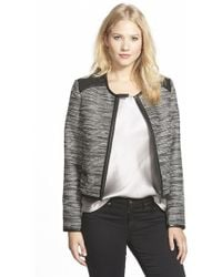 Adrianna Papell - Faux Leather Trim Metallic Tweed Jacket - Lyst